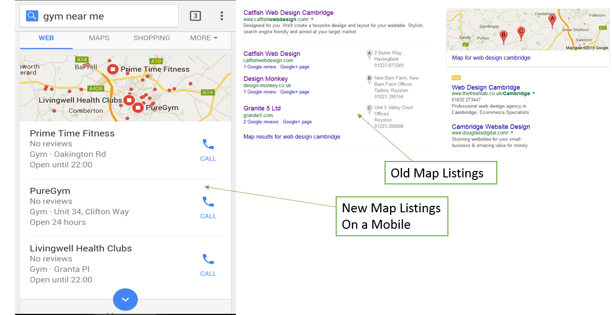 New Vs Old Google map listings