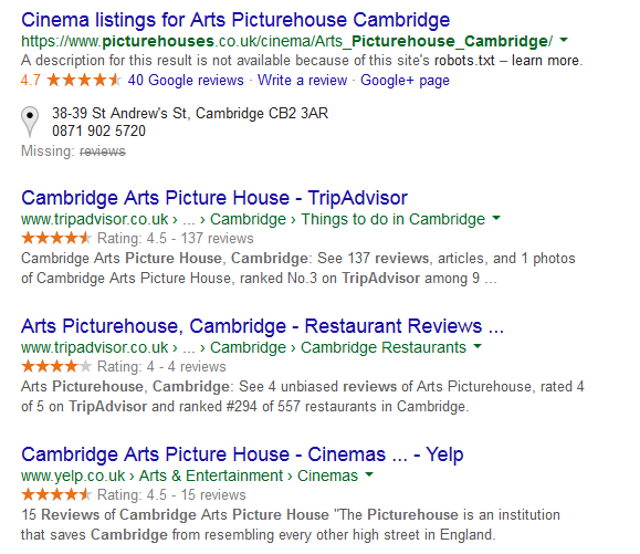 Reviews from citations in local SEO results