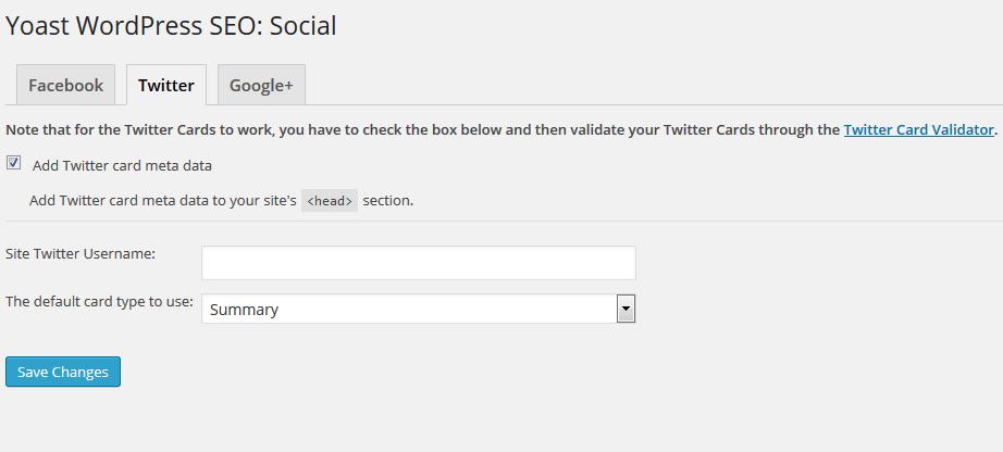 yoast plugin screenshot for twitter cards