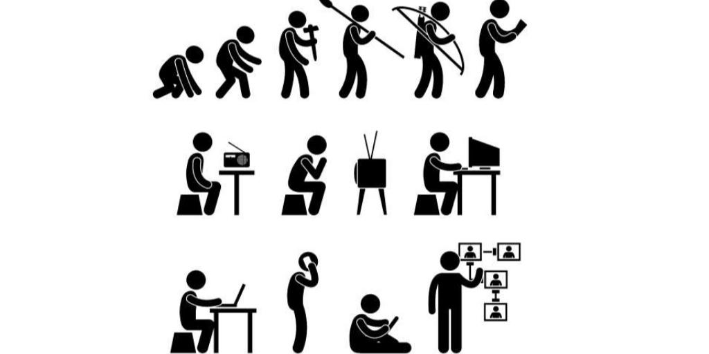 Clip art - depicting the evolution of marketing
