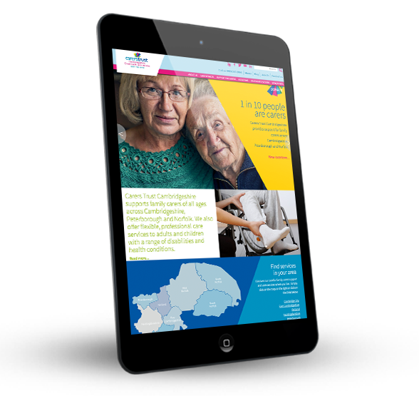 Carers Trust Cambridgeshire on a tablet device