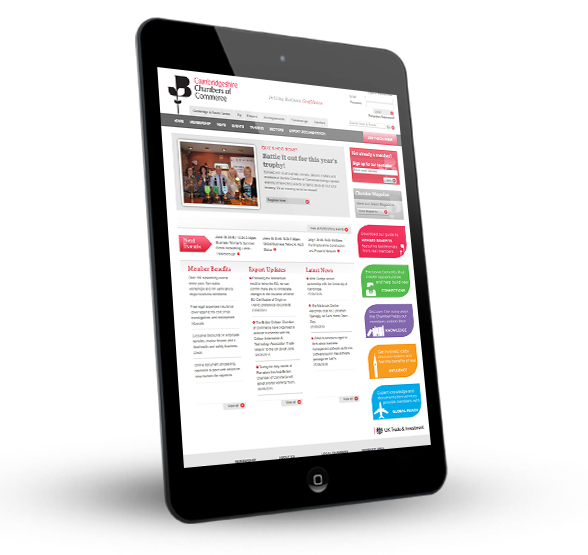 Cambridgeshire Chambers of Commerce on a tablet device