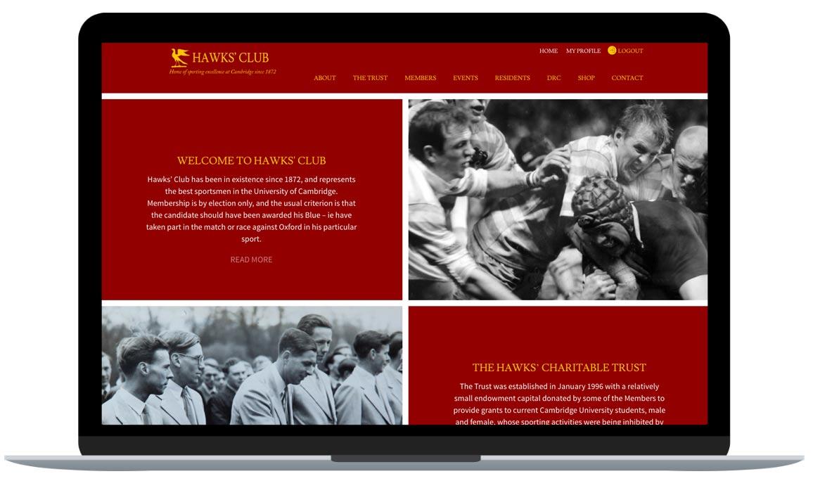 Hawks Club website; A WordPress web design with Salesforce integration