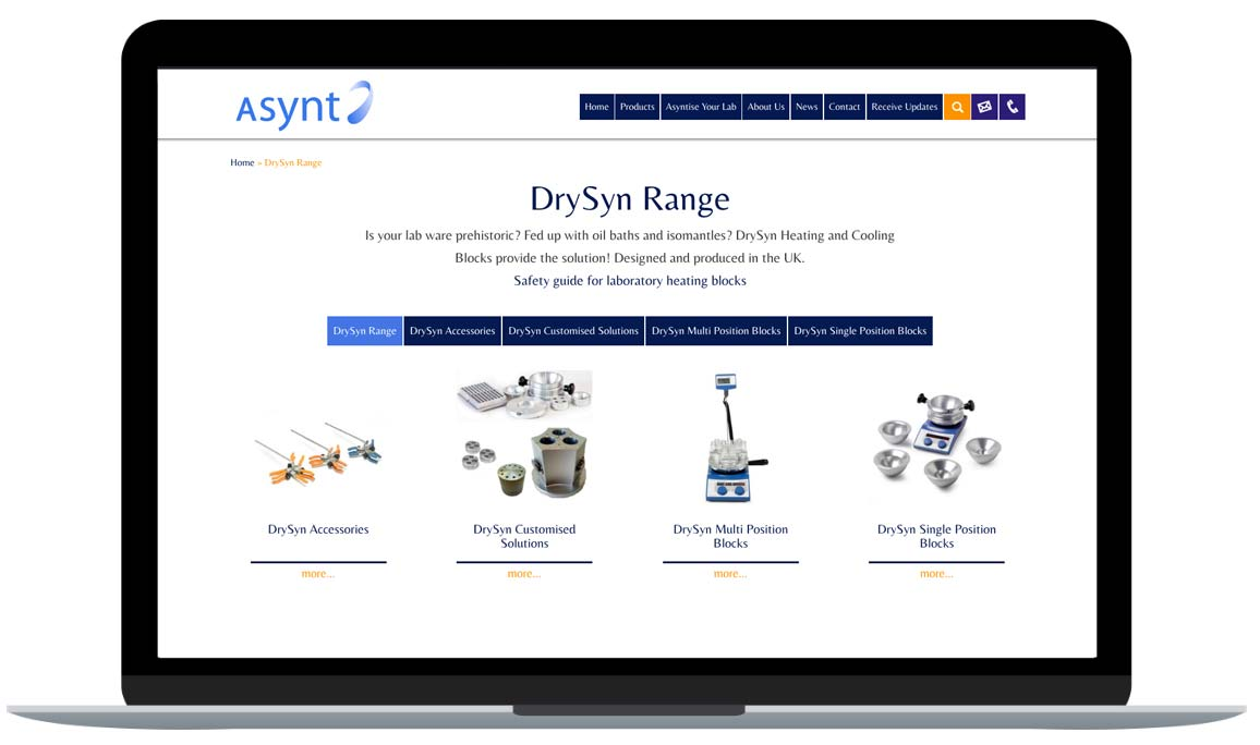 Asynt product category page - Drysyn