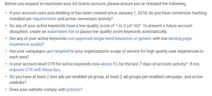 Google grants - checks before requesting Google to review the account