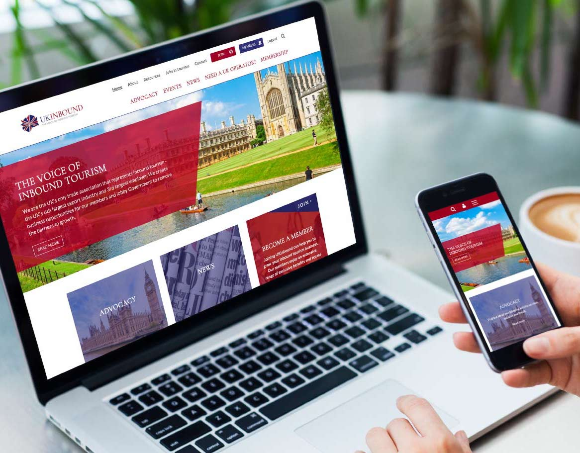 ukinbound: a travel membership organisation, a new website design and website development shown on a laptop and mobile phone