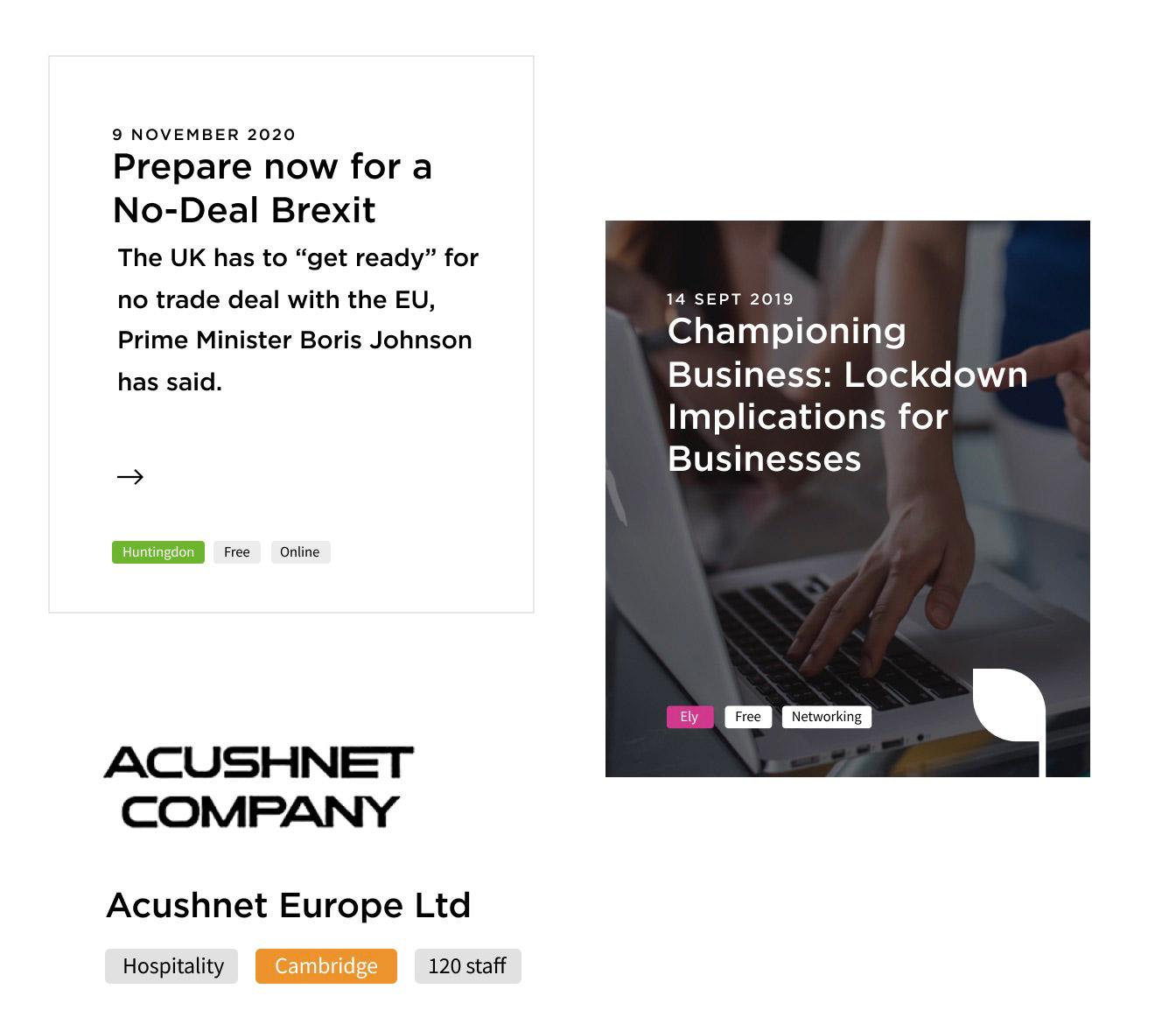 Web design mockup for Cambridge business