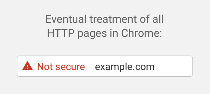 Http not secure warning in Chrome browser