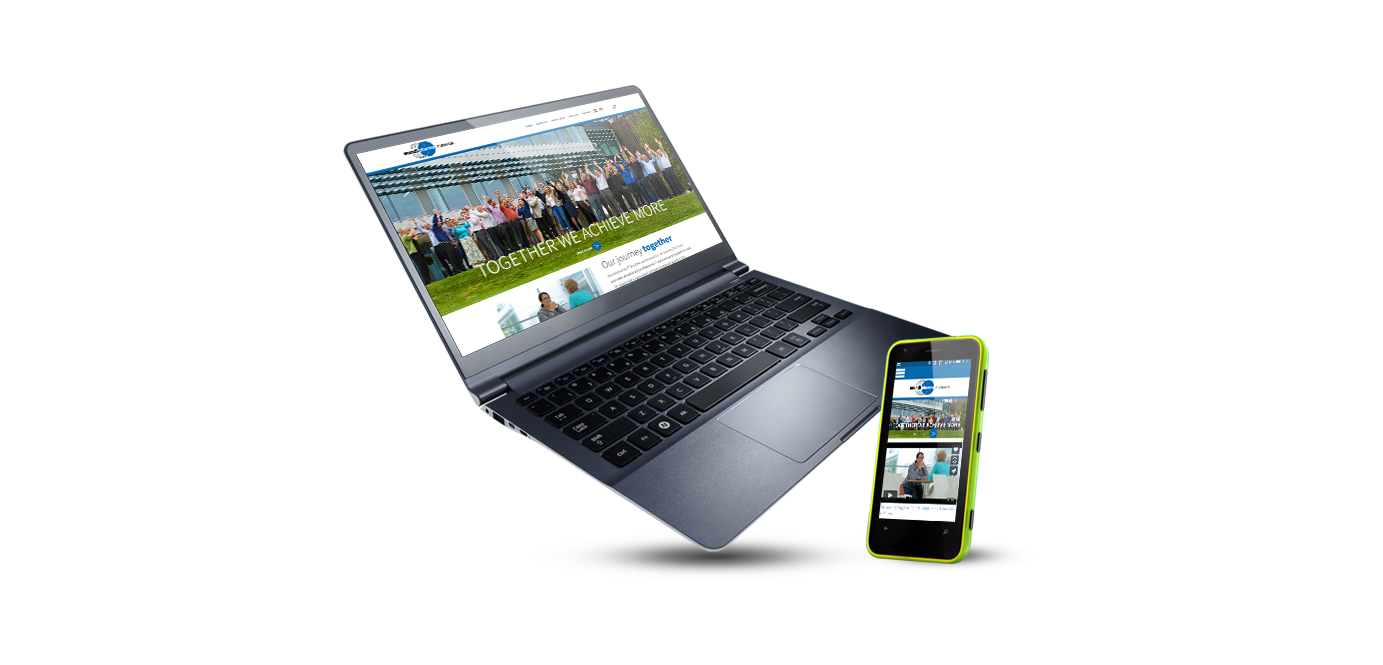 mundipharma responsive website on phone and laptop